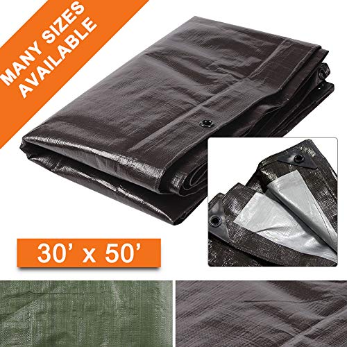 Hanjet Heavy Duty Tarp 30 x 50 Feet 9 Mil Brown Reversible Full Size Large Thick Durable Poly Tarp