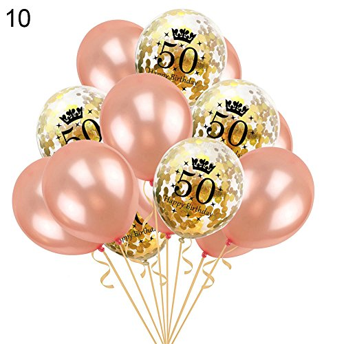 CHoppyWAVE 15Pcs 12inch 30/40/50th Happy Birthday Latex Confetti Balloons Decor + Ribbon - 10# -