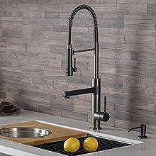 Kraus KPF-1603MBSB Artec Kitchen Faucet, Matte Black/Black Stainless Steel