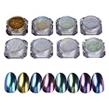 Born Pretty 8 Box Shinning Mirror Nail Glitter Powder Gorgeous Nail Art Chrome Pigment Glitters 8 Colors