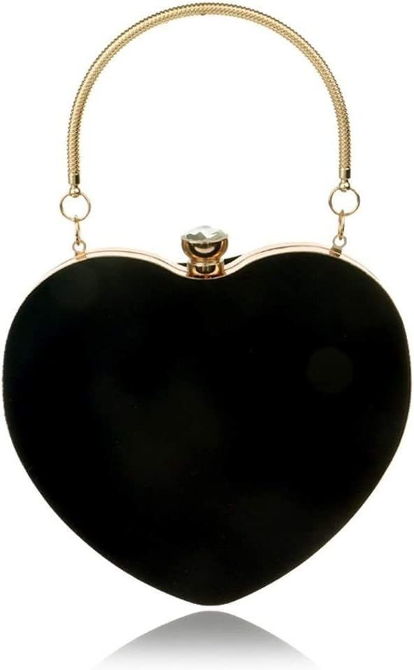QJW Sac /à Main en Forme de Coeur pour Dames de Mode Sac cosm/étique Sac de soir/ée Pochette Color : Black JF 16 /× 8 /× 16 cm