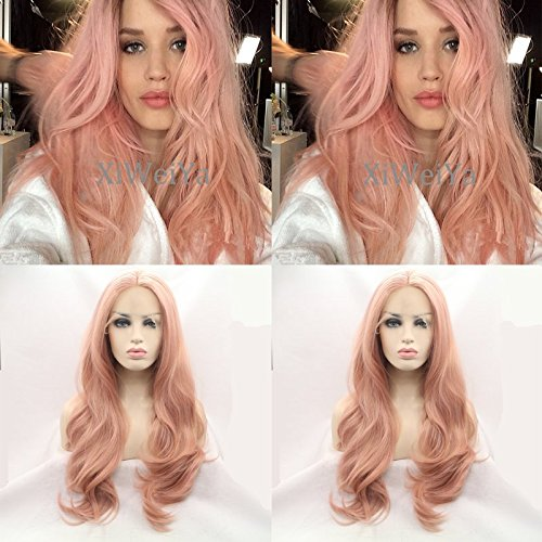 Hot Sale Lady GaGa's Peach Pink Synthetic Wig Long Straight Half Hand Tied Lace Front Wig Heat Resistant Glueless Rose Gold Pastel Pink Wig