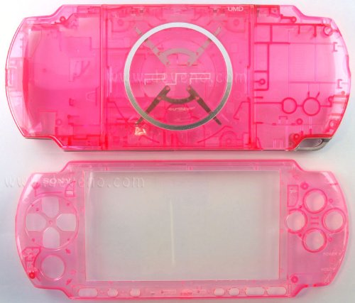 (Crystal Clear Red PSP 3000 Series Full Shell Cover Housing Replacement with Button Set)