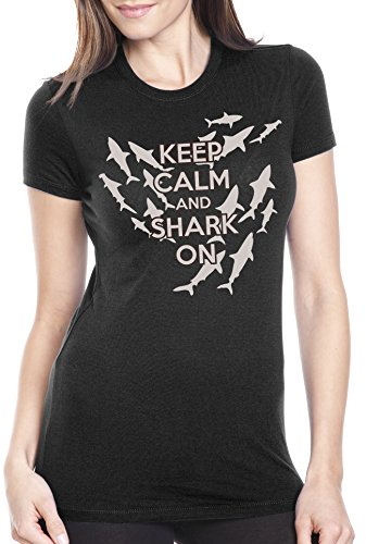 Crazy Dog TShirts - Women's Keep Calm and Shark On T Shirt Funny Sharks Tee For Women - Camiseta Para Mujer