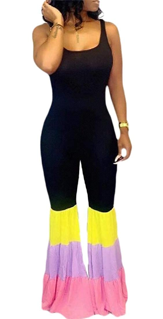 GAGA Womens Bell-Bottom Romper Spaghetti Strap One Piece Jumpsuit