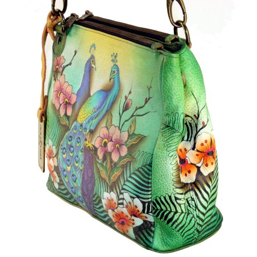 Peacock Convertible Compartment Rousseau's Anuschka Passionate Triple Tote Jungle g1qqP6wT