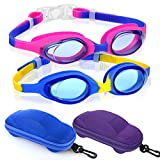 Kids Swimming Goggles Swim Goggles for Boys Girls Kid (Age 3-8) Child Colorful Swim Goggles Clear Vision Anti Fog UV Protection No Leak Soft Silicone Nose Bridge Protection Case Kids' Skoogles