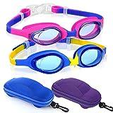 Kids Swimming Goggles Swim Goggles for Boys Girls Kid (Age 3-8) Child Colorful Swim Goggles Clear Vision Anti Fog UV Protection No Leak Soft Silicone Nose Bridge Protection Case Kids' Skoogles