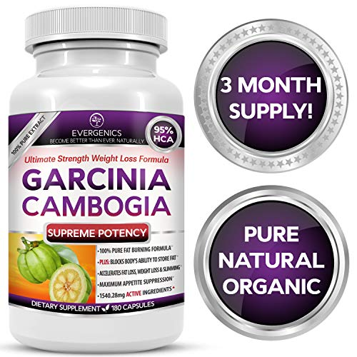 Evergenics Organic Garcinia Cambogia Extract. Fast, Natural Weight Loss for Adults. 3 Month Supply, 180 Caspsules. Ultimate Strength 95% HCA Burns Fat, Boosts Metabolism and Controls Appetite.