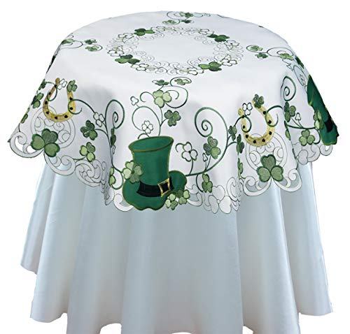 - Creative Linens St. Patrick's Day Table Linens, Spring Embroidered Shamrocks Irish Clovers and Leprechaun Hats Placemats, Table Runners, Tablecloths, White Green (34