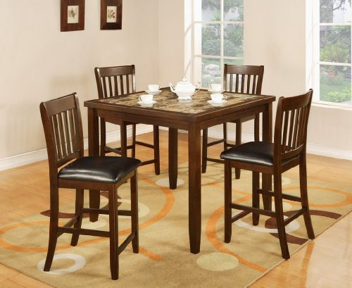 Roundhill Furniture Zoho 5PC Aritifical Marble Top Dark Cappuccino Finish Wood Counter Height Dining Set