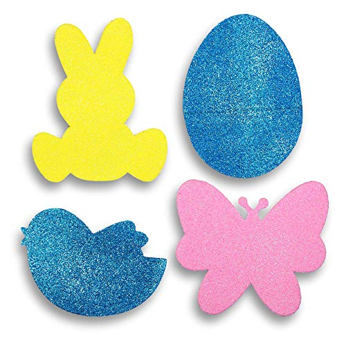 Easter Jumbo Glitter Foam Shapes Craft Kit - Easter Eggs Bunny Rabbits Chick Birds and Butterflies - Assorted Colors of Each Design - 48 Pieces