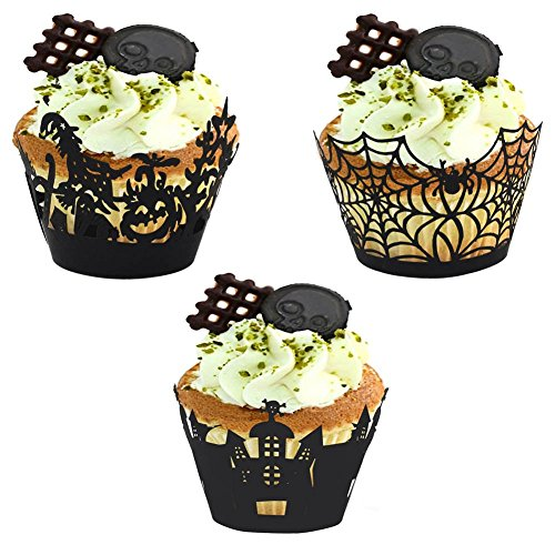 [halloween cupcakes decorations - 120Pcs/lot Halloween Spiderweb/Witch/Castle Laser Cut Cupcake Wrappers Liners Party] (Halloween Cupcakes Allrecipes)