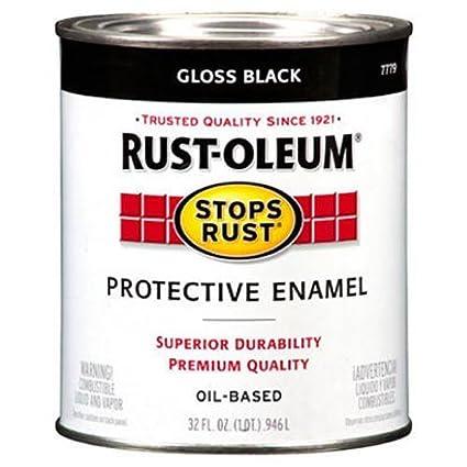 Rust Oleum 7779504 Protective Enamel Paint Stops Rust, 32 Ounce, Gloss Black