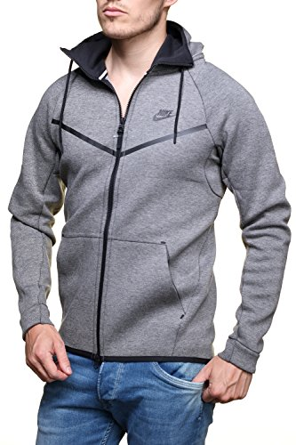 f642cb3b835b Nike Mens Sportswear Tech Fleece Windrunner Hooded Sweatshirt Carbon  Heather Black 805144-091 Size