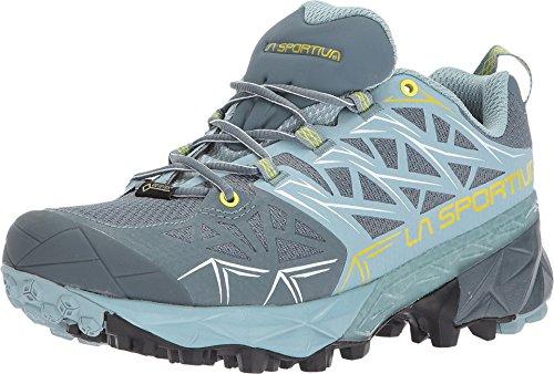 La Sportiva Akyra GTX Womens Mountain Running Shoe, Slate/Sulphur, 39.5