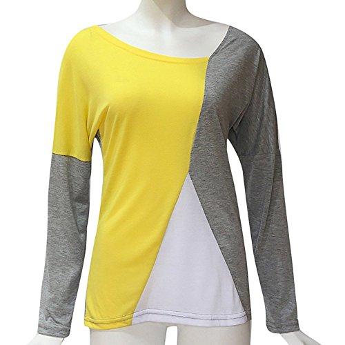 Grigio Colore Lunghe Casual Autunno collo Shirt Top Donna T Patchwork Camicetta Elegante Maniche Manica Blouse Mecohe Lunga O Block A aHqw8RxxZ