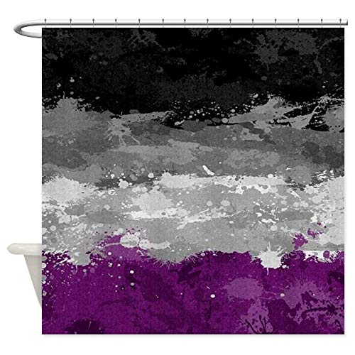 Afagahahs Shower Curtain,Asexual Paint Splatter Flag Design Curtain Polyester Waterproof Fabric with 12 Hooks,66 X 72 Inches