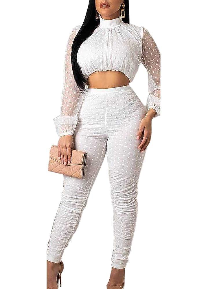 a152f09e3 Amazon.com: Ramoug Womens Polka Dot Print Sheer Mesh Long Sleeve Crop Top  Zip Up Bodycon Pants 2pc Outfit Jumpsuit: Clothing