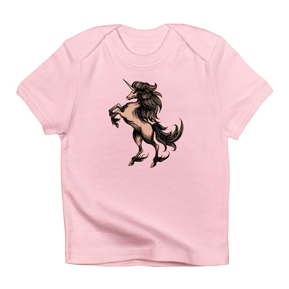 Truly Teague Infant T-Shirt Unicorn Heraldry Engraving Style Petal Pink 18 To 24 Months