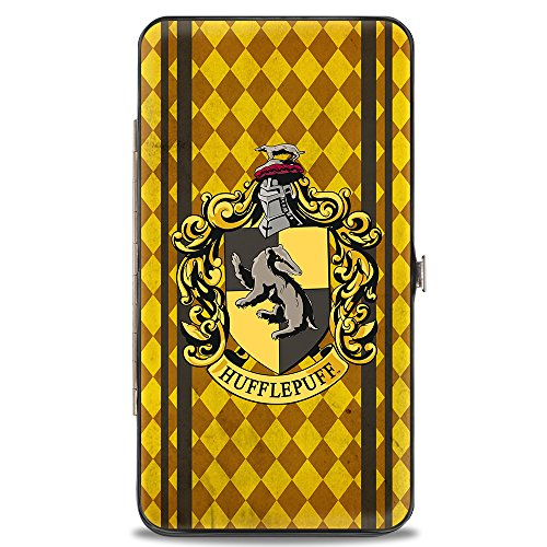 - Buckle-Down Hinge Wallet - HUFFLEPUFF, Crest Stripes/Diamonds Gold/Browns, 7