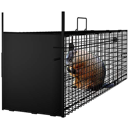 "AMAGABELI GARDEN & HOME Humane Live Animal Trap 31""X10.5""X11.5"" Catch Release Cage for Cats Groundhogs Opossums"