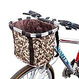 Bicycle Front Basket, Aluminum Canvas Bike Handlebar Basket, Bicycle Bicycle Front Basket,Storage Organizer Bike Basket Carrier Bag for Outdoor Picnic Travel