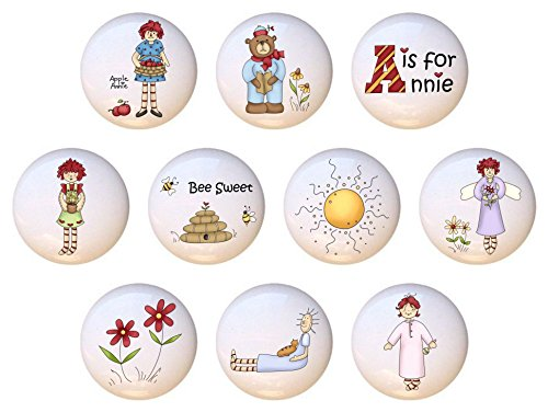SET OF 10 KNOBS - A is for Annie Country Raggedy Ann Collection - DECORATIVE Glossy CERAMIC Cupboard Cabinet PULLS Dresser Drawer KNOBS -