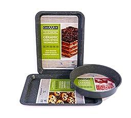 casaWare Silver Granite 3pc Bakeware Set with Round Pan