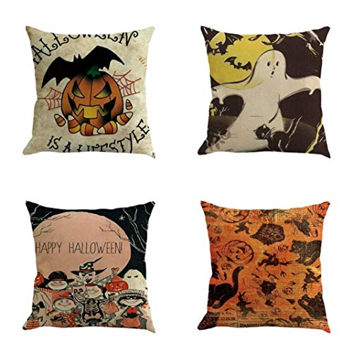 Set of 3/4 Fheaven Office Sofa Decorative Cotton Linen Square Throw Pillow Cases Cushion Covers Halloween Party Decor, 18