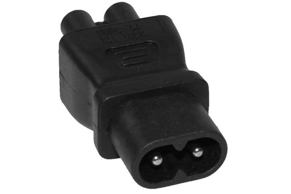 SF Cable, IEC C8 2 prong plug to C5 3 prong receptacle Power Plug Adapter