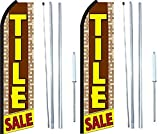 Tile Sale King Swooper Flag Sign With Complete Hybrid Pole set - Pack of 2