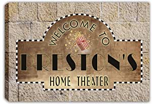 scph1-0358 PRESTON'S Home Theater Cinema Stretched Canvas Print Sign