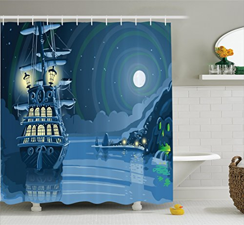 Nautical Decor Shower Curtain Set - Pirate Ship and Moon
