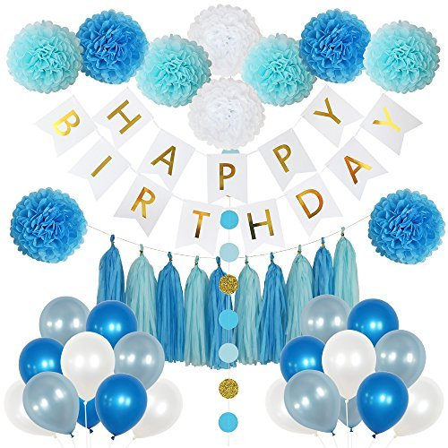 85 Pieces Birthday Party Decoration Set for Boys- includes Happy Birthday Banner, 20 Party Balloons, 10 Paper Pom Poms, 10 Tassels and 32 Round Paper Garland Perfect For Boys Birthday -