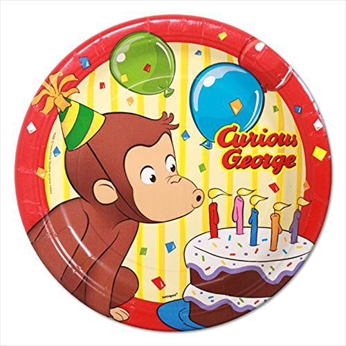 Curious George Small Paper Plates - Cake Curious George Plates