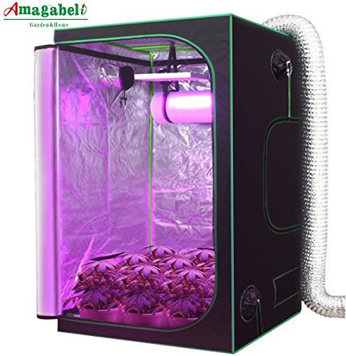 Amagabeli Hydroponic 4x4 Grow Tent for Indoor Plant Growing 48''x48''x80'' with Removable Floor Tray Reflective Mylar Adjustable Rope Hangers Observation Window Tool Bag Room Box Vegetable Seedling Kit by Amagabeli
