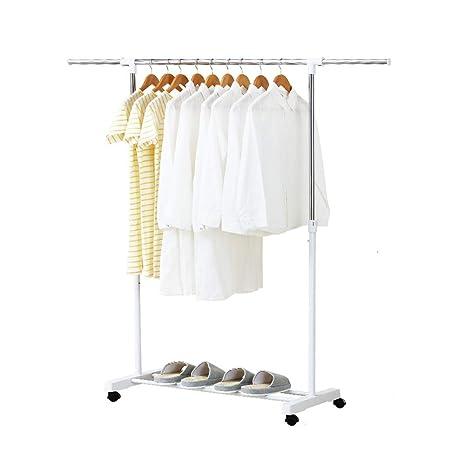 Amazon.com: Perchero ajustable para colgar ropa, con ruedas ...