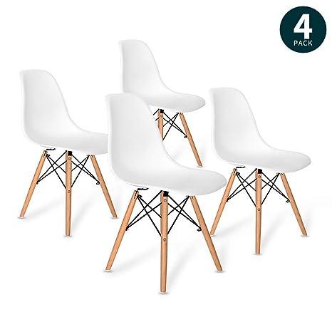 Tonffi VADIM Set von 4 Esszimmerstühle weiß, Küchenstühle, Stuhl Stühle 4er  Set, Wohnzimmerstuhl mit Buchen Holz Bein- weiß