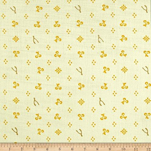 "Birch Organic Fabrics"" Merryweather Merrythought Double Gauze, Cream Metallic"