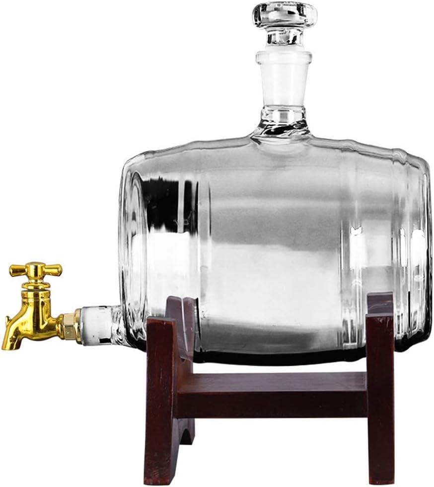 Whiskey barrel, Transparent Wine Barrel Glass Bottle Seal Wine Barrel Faucet Distributor Solid Wood Bracket Bar Wine Cellar Winemaking TINGTING (Color : Opacity, Size : 2219cm)