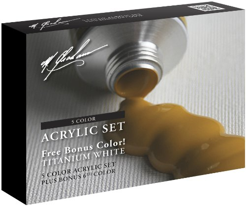 M. Graham 6-Color Acrylic Paint Primary Bonus Set, 2-Ounce Tube