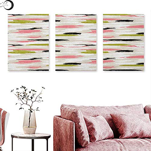 (J Chief Sky Art Canvas Print Wall Art Bold Pattern with Thick Brushstrokes and Stripes Hand Painted Boho Print Wall Painting Coral Black Olive Green W 16