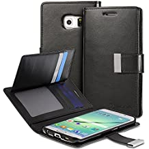 Vena Samsung Galaxy S6 Edge Wallet Case [vDiary] Chic Slim Tri-Fold Flip Cover PU Leather Wallet Case [Card Pockets & Stand] for Samsung Galaxy S6 Edge (Black)