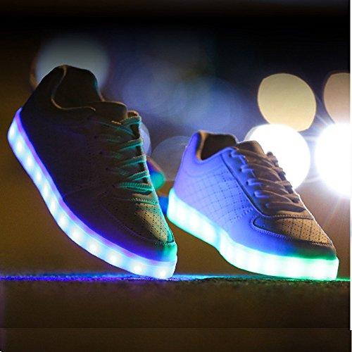 UDreamTime Erwachsene 7 Farben LED-Blitzen-Turnschuhe Sportschuhe Weiß 43 gFhqwt