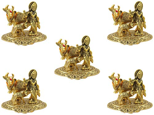 GoldGiftIdeas Oxidized White Metal Gold Plated Cow and Calf Lord Krishna Idol (Medium), Cow Statue Home Decor, Indian Return Gifts for Housewarming, Hindu Religious Item for Home Pooja (Pack of 5)
