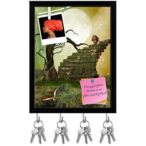 - Artzfolio Fantasy Garden with Tree Stairway & Rabbit Key Holder Hooks | Notice Pin Board | Black Frame 12 X 15.7Inch