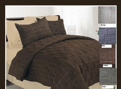 JABA 3 Pc Queen Blue Suede Quilted Bedspread Set with Luxurious Suede Top Fabric/Top