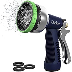 Garden Hose Nozzle Sprayer Heavy Duty Metal Spray Nozzle 9 Patterns High Pressure Hand Watering Nozzle Sprayer For Watering Plants, Cleaning, Car Wash and Showering Dog & Pets
