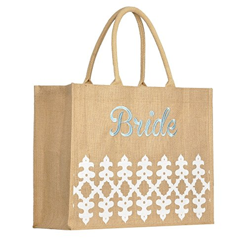 [Jute Burlap Embroidered BRIDE Orleans Pocket Tote Bag] (Bridal Embroidered Tote)